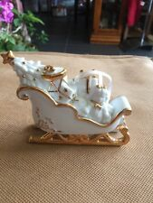 Sleigh Filled With Presents Porcelain 24 Karat Gold Trim Christmas Ornament