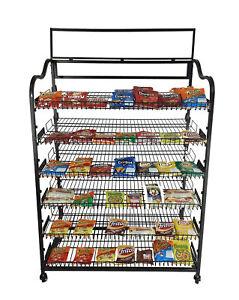 """39"""" Wide Bakery Display Rack Wheels Adjustable Shelves Header Holder Black Stand"""