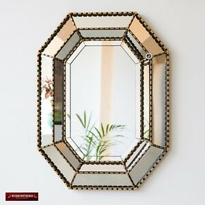 Gold Large Accent mirror wall decor 'Andes Luxury', Peruvian mirror livig room
