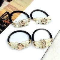 2Pcs Korean Women Girls Faux Pearl Bunch Hair Clip Hair Ring Accessories In RK