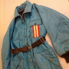Vintage 1970s Antler Dacron 88 Snowmobile Suit Baby Blue 1 Piece Red Stripe L