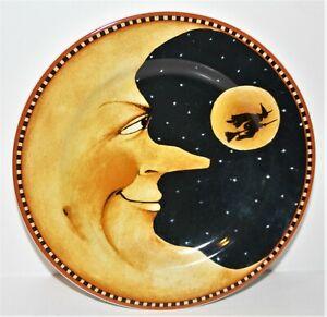 "Halloween MOON & WITCH 8"" PLATE Oneida Sakura PUMPKIN HOLLOW David Carter Brown"