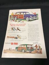 FORD Print Ad 1950 Classic Car AD Vintage '50 Station Wagon Fishing Hunting
