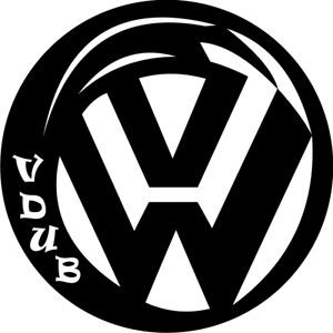 V DUB VW CUSTOM VAN DECAL/STICKER X 2 (300mm x 300mm)