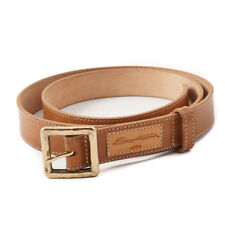 New $295 SANTONI Natural Tan Calf Leather Belt with Gold Buckle 38 (95cm)