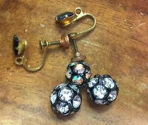 Vintage Brass Prong Set Clear & AB Cluster Bead Ball Beads Earrings Findings Lot
