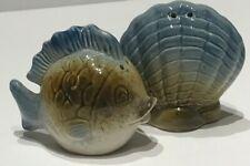 Fish and Seashell Ceramic Salt and Pepper Shaker Set