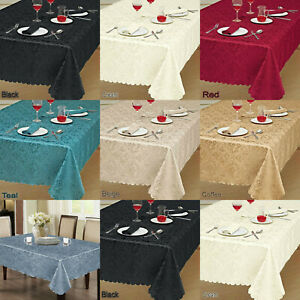Damask Jacquard Floral Table Cover Cloth Napkin Runner Rectangle Round Tableware