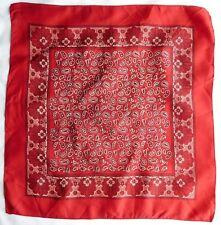 "Burgundy Paisley silk handkerchief 16"" pocket square vintage dv"