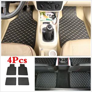 4X Black/Beige Line Car Floor Foot Mat Front Rear Carpet Protect Pad Universal