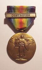 VINTAGE WW I Navy Victory Medal DESTROYER BAR