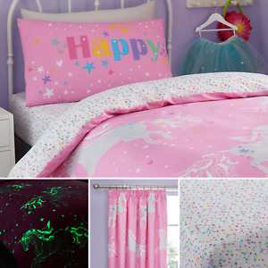Bedlam Pink Unicorn Glow in the Dark Reversible Stars Duvet Cover Bedding Range