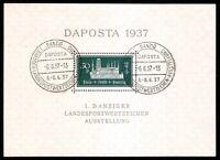 DR Danzig Nazi Reich Rare WW2 Stamp 1937 Castle Tower Daposta FDC Classic Block