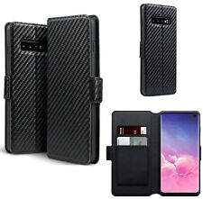 PU Leather Wallet Case Cover Black Carbon Fibre For Samsung Galaxy S10 Plus
