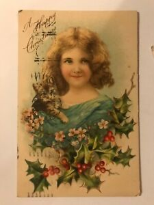 Little Girl Holding Cat Kitten A Happy Christmas Greetings Postcard