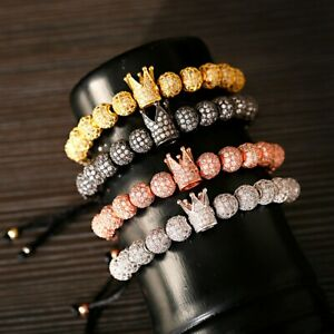 2020' Women Men Luxury Micro Pave CZ Ball Crown Braided Adjustable Bracelets