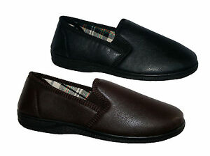 MENS BLACK AND BROWN EASY WIPE TWIN GUSSET SLIPPER WITH OUTDOOR SOLE SIZES 6-14