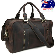 Vintage Men's Leather Travel Luggage Overnight Suitcases Duffle Gym Shoulder Bag