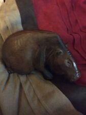 Vintage Hand Carved Wood Hippo Hippopotamus Figure Sculpture
