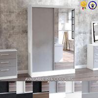 Lynx Wardrobe 2 Door Sliding with Mirror Black Grey White Walnut Modern Gloss