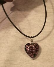 Purple Black Veined Glass Heart Dangle Black Vinyl Cord Pendant Necklace  ++++