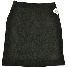 Anne Klein Women's Paisley Silhouette Skirt w/ Side Elastic, Black Large NWT