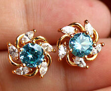 18K Yellow Gold Filled - Windmill Blue Topaz Gemstone Women Stud Party Earrings