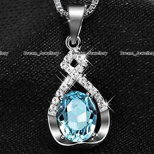 Infinity Aguamarina Piedra Colgante Plata Collar Bisutería Regalos Para Ella