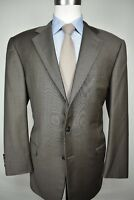 Hickey Freeman Brown w/ Blue Check 100% Wool Three Button Two Pc Suit Size: 42R