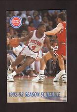 Joe Dumars--Detroit Pistons--1992-93 Pocket Schedule--Budweiser