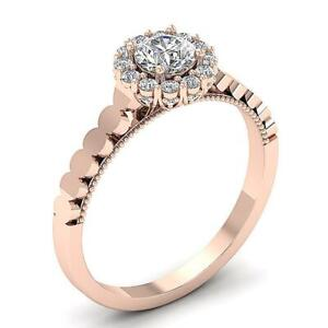 Designer Halo Solitaire Ring Round Cut Diamond SI1 G 0.85 Carat 14K Solid Gold