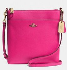 Coach Authentic Swing-Pack Embossed Textured Pink Ruby Leather New With Tags