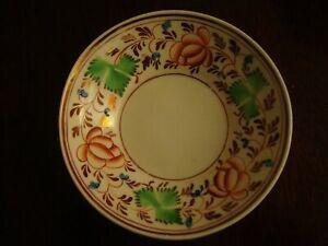 Victorian lustre porcelain saucer with 3 leaf clover decoration   20/283
