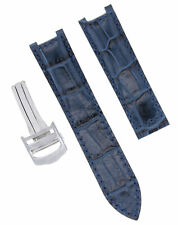 LEATHER WATCH STRAP BAND FOR 35MM CARTIER PASHA WATCH 20MM DEPLOYMENT CLASP BLUE