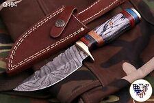 CUSTOM HAND FORGED DAMASCUS Steel Hunting Knife W/wood & Brass Guard Handle