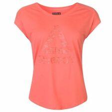 Ladies Branded Reebok Large Logo Workout Gym Training Slim T Shirt Top Size 6-22