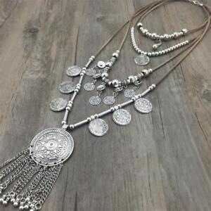 Ethnic Turkish Gypsy Coins Tassel African Indian Tribal Necklace Hippie Pendant