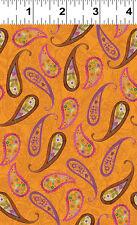 Paisley on Orange - Spice Garden By Sue Zipkin for Clothworks Fabrics HALF YARD