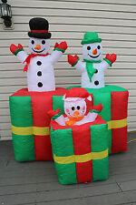8 Foot Tall Animated Airblown Inflatable Snowman Family  Christmas Yard Decor