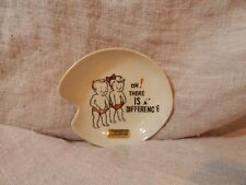 """Vintage Soap Dish Yellowstone Souvenir """"Oh There is a Difference"""" Boy and Girl"""