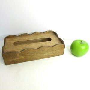 Wooden Tissue Box Cover SCALLOPED Edges Rectangular Vintage? Handmade?