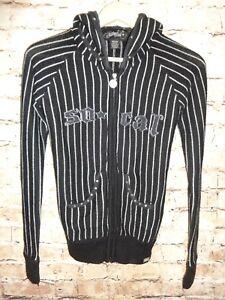 So Cal Graphic Zip Front Black Hooded Sweatshirt Casual Hoodie Juniors SZ M Knit