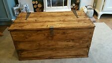 Wooden Chest Trunk Large Storage Toy Box Coffee Table Vintage Style Handmade