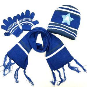 3-Pieces Winter Beanie Hat Scarf Gloves Set Warm Knit Skull Cap Boy Girl Kids