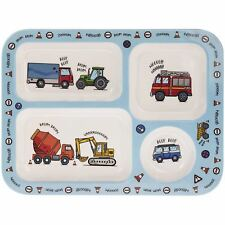 Vehicles Melamine Plastic Childrens Cars Sections Dinner Kids Plate Tray 30cm