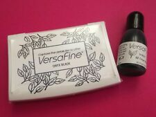 VERSAFINE ONYX BLACK LARGE INK PAD VF82 PLUS 15ML REFIL RE-INKER