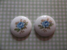 Vintage Blue Rose Cameos 18mm Round Glass Cabochons White Base Made in Japan