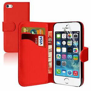 RED Wallets leather plain Case Cover with clip Card Slots for apple iPhone 4/4S