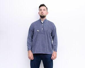 FISHERMEN Vintage men M Smock Shirt Navy Blue Pinstriped Pullover Chore Work Top