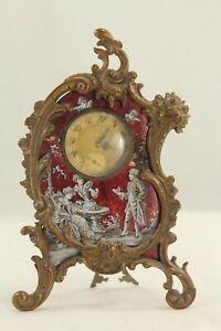 Antique Viennese Bronze & Enamel Miniature Boudoir Clock - Waltham